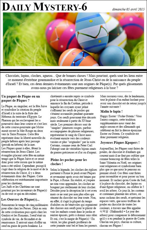 Concours Pâques (article + montage)