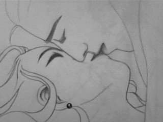 Beautiful and full kiss