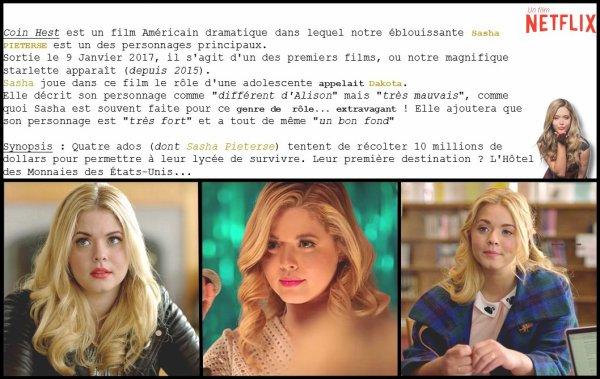 • • Sasha Pieterse, actrice dans le nouveau film Netflix : Coin Heist.
