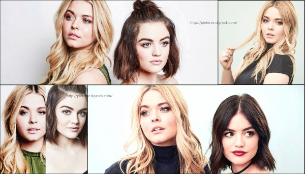 • • Shooting photo de Sasha Pieterse en compagnie de Lucy Hale pour Winter TCA 2016/2017.
