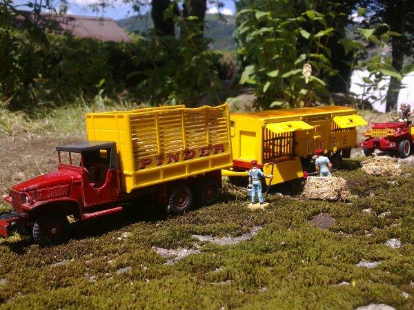 Camion GMC Pinder avec remorque cage avec fauves ....