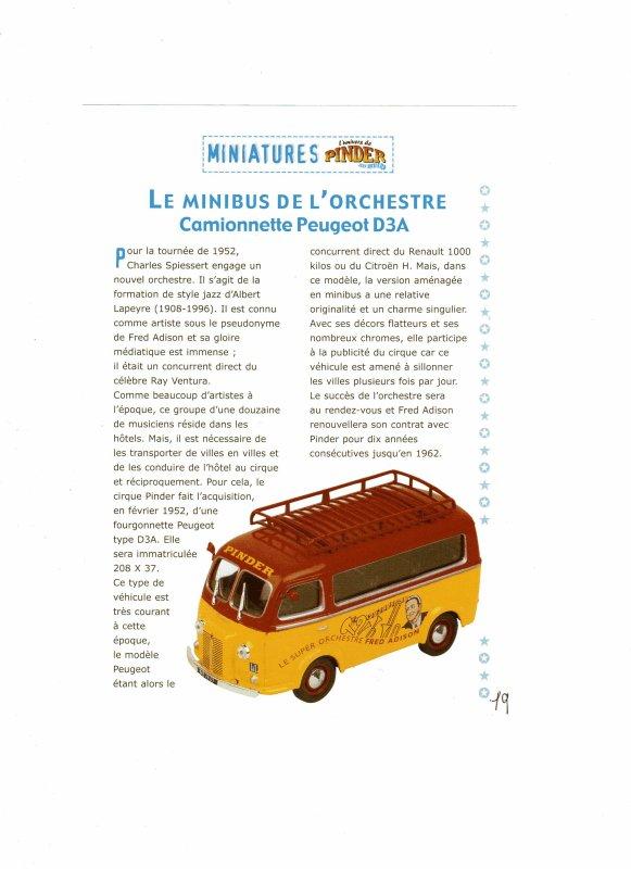 N° 18 ; En Mai 2003 Le Minibus de l'orchestre Peugeot D3A