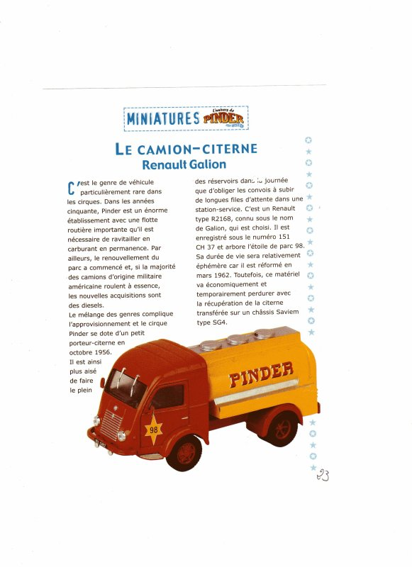 "N° 23; Courant 2003  "" Le camion citerne Renault Galion"""