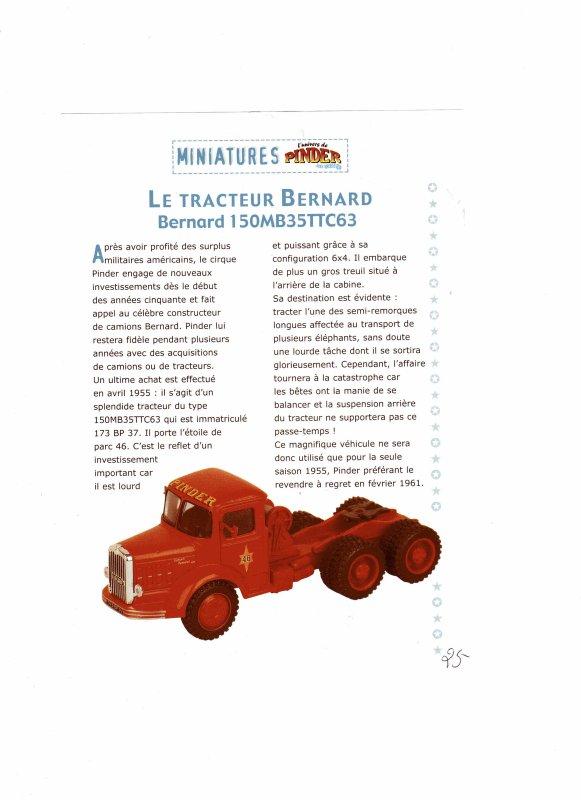 """N° 25; Courant 2003 """" Tracteur Bernard """" pour la semi bétaillère ..."""