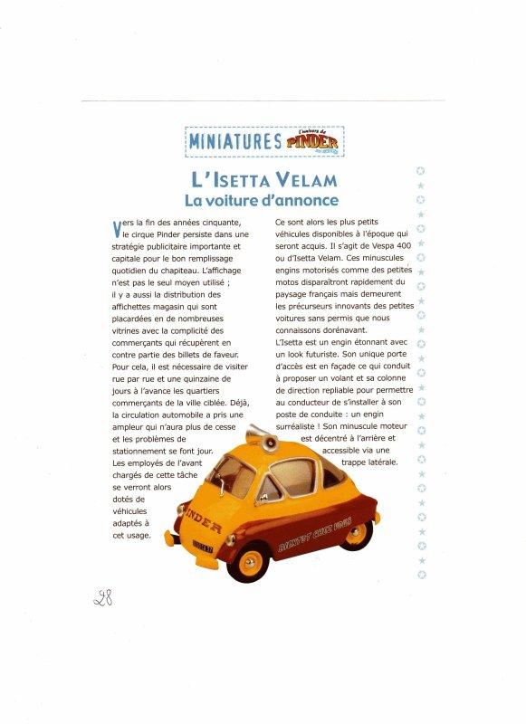 """N°28; Courant 2003 """" L'ISETTA VELAM """" la voiture d'annonce"""