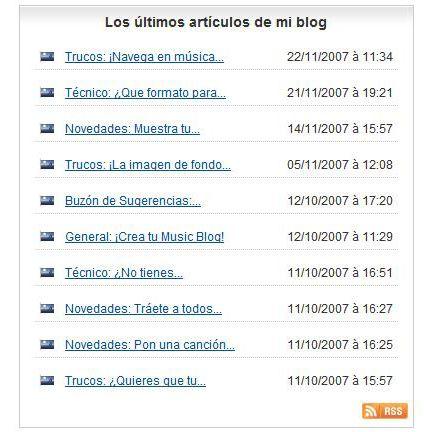 Novedades: los últimos artículos de tu blog en la página de tu perfil