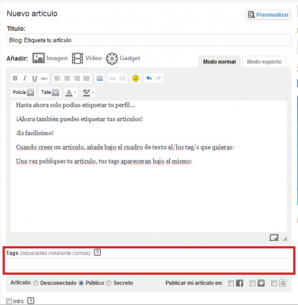Blog: Etiqueta tus artículos