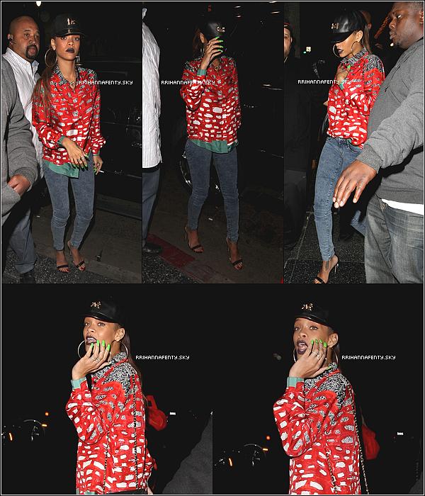 .Candids. : 13.01.2013 : Avant de se rendre au club Greystone, Rihanna était passée par le club My Studio, où les paparrazis ont pu la photographier à sa sortie. Plus tard, plusieurs fans ont eu l'occasion de photographier Rihanna au Greystone Manor Supperclub de Los Angeles.