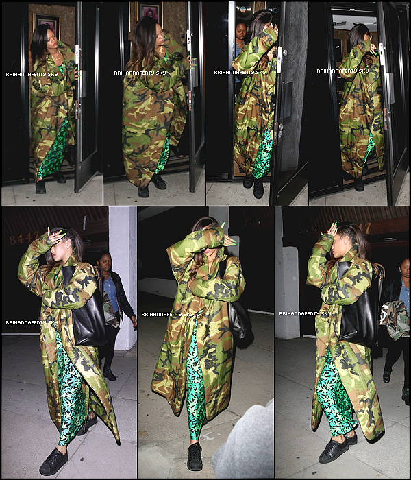 .Candids. : 17.01.2013 : Rihanna se trouvait en studio d'enregistrement avec Chris Brown à Los Angeles. Les paparazzis ont pu photographier la sortie de Rihanna, quelques minutes avant celle du chanteur.