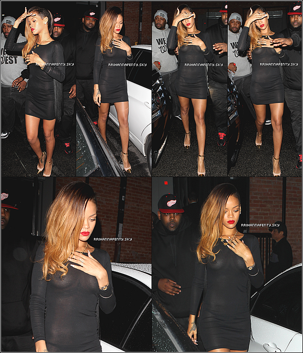 Candids : 24.01.2013 : Rihanna a été aperçue hier soir, quittant le club Edenà Los Angeles, en compagnie de sa meilleure amie Melissa. De plus, Rihanna nous a informé via ses comptes Twitter et Instagram avoir tourné un nouveau photoshoot avec Terry Richardson pour un magazine inconnu.