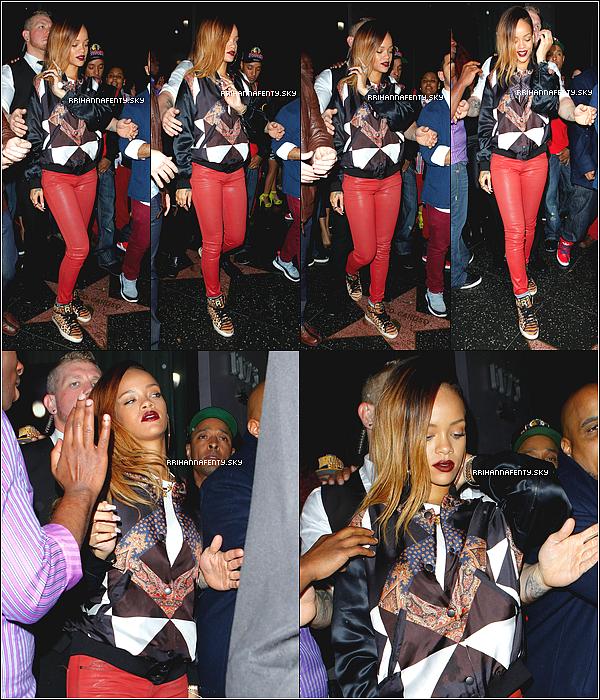 Candids : 25.01.2013 : Rihanna a été aperçue se rendant au club My Studio à Los Angeles, où elle a été photographiée par les paparazzis à son arrivée. De plus, Rihanna, qui était nommée dans trois catégories à la cérémonie française des NRJ Music Awards vient tout juste de remporter — pour la troisième fois — le prix de l'Artiste Féminine Internationale de l'Année. La chanteuse n'était malheureusement pas présente pour l'occasion.