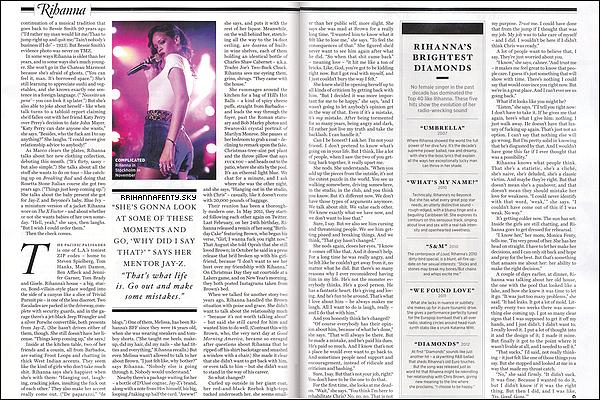 Magazines : 02.2013 : Rihanna fait la couverture de l'édition du mois de février du magazine Rolling Stone. Le site internet du magazine a publié un extrait de l'interview, dans lequel Rihanna en dit un peu plus concernant sa relation avec Chris Brown, ici.