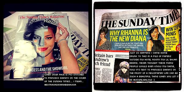Apparitions Publiques : 16.02.2013 : Rihanna a présenté sa nouvelle collection pour River Island à Oxford Street à Londres. Ensuite, elle a été aperçu dans une boîte de nuit branchée jusqu'à 4h00 du matin. De plus, Rihanna a posté ce matin, sur son compte Instagram, un couverture d'elle avec la princesse Diana.
