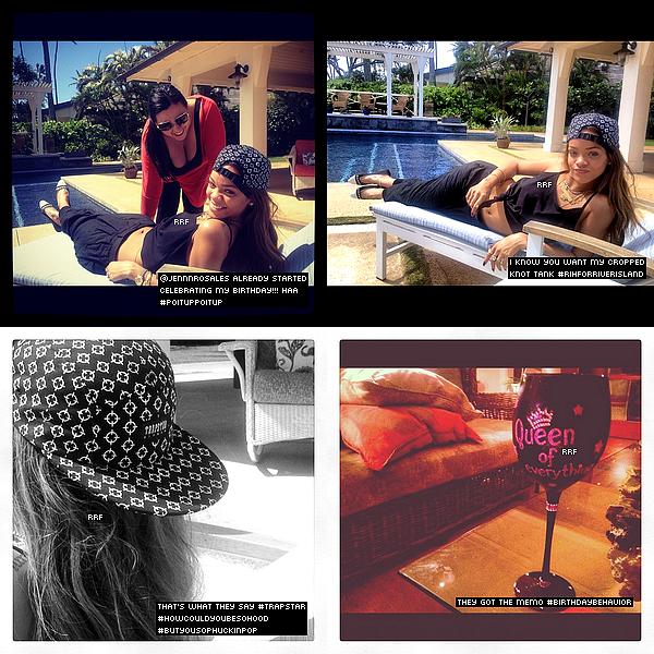 Candids : 18.02.2013 : Rihanna a posté quelques photos personnelles provenant de son compte Instagram nous montrant qu'elle se trouve présentement à Hawaï pour célébrée son 25e anniversaire. De plus, Rihanna a sa propre ligne de maquillage MAC.