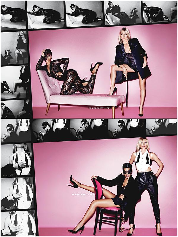 Photoshoots : 2012 - 2013 : La vidéo des coulisses du photoshoot pour le numéro 82 du magazine V, pour lequel Rihanna pose aux cotés de Kate Moss, est disponible. Le magazine sera disponible le 28 février. De plus, voici un photoshoot avec les mannequins qui portait la collection de Rihanna de River Island lors du défiler.