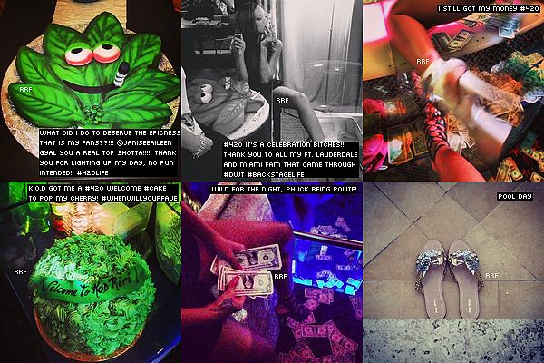 21.04.2013 : Elle a profité d'un bain de soleil au bord de la piscine, à Miami. La chanteuse était accompagnée de quelques amis avec lesquels elle semble s'être beaucoup amusée. Plus tard dans la journée, Rihanna était à la American Airlines Arena de Miami pour assister à un match de basket opposant les Miami Heat aux Milwaukee Bucks. Dans la soirée, elle a été aperçue quittant le club LIV à Miami. De plus, quelques photos Instagram sont disponible.