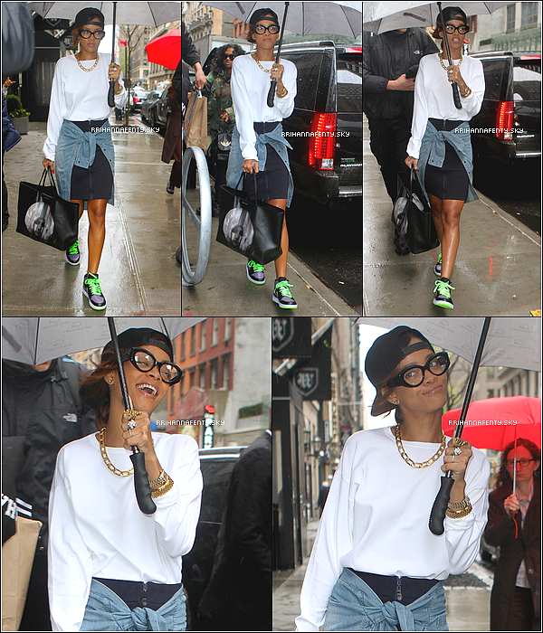 29.04.2013 :  Rihanna a été aperçue quittant son hôtel à New York. Plus tard dans la soirée, elle a performé au Verizon Center à Washington, District of Columbia.