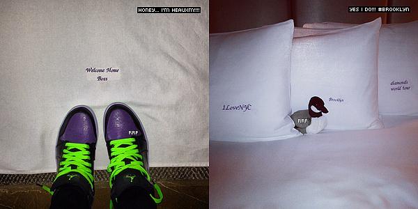 03.05.2013 :  Rihanna a été aperçue arrivant à son hôtel à New York. Elle y donnera deux concerts les 5 et 7 mai prochains. De plus, deux photos Instagram sont disponible.