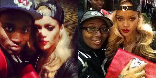 14.05.2013 : Rihanna et sa meilleure amie Melissa Forde ont été aperçues quittant leur hôtel. Elles se rendaient à la Irving Plaza, où Juicy J et ASAP Ferg donnaient un concert. De plus, elle a prit des photos avec des fans.