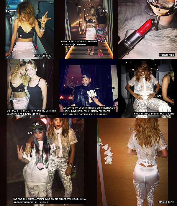 01.07.2013 : Rihanna a été vue à L'Avenue Restaurant à Paris avec sa meilleure amie. Plusieurs photos Instagram de leur soirée sont disponible. Elles fêtaient l'anniversaire d'un de leurs amis, Evan Rogers.