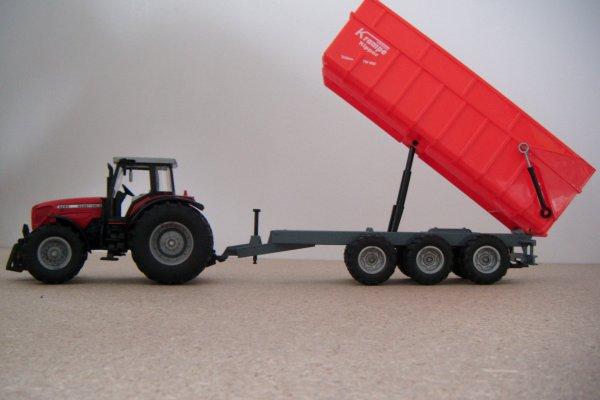 Massey 8280 XTRA et  benne Krampe 3 essieus