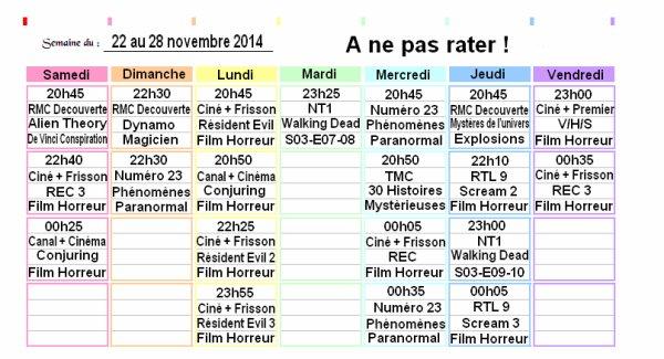 Programmes du 22 au 28 novembre 2014