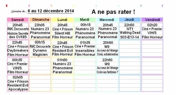 Programmes du 06 au 12 décembre 2014