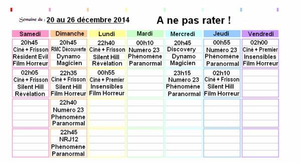 Programmes du 20 au 26 décembre 2014