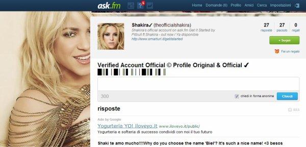 Édité: Posez des questions à Shakira sur Ask.fm !