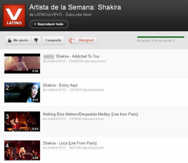 Shakira, artiste de la semaine sur « Vevo Latino »