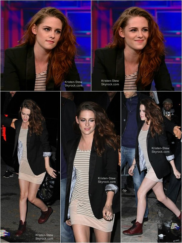 13.12.2012 /Kristen était à l'émission de The Daily Show with Jon Stewart. J'aime énormément sa tenue, robe et Doc Martens, c'est tous simplement magnifique. Un énorme Top.