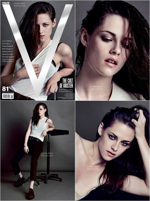 02.01.2013 / Plusieurs photos de Kristen tiré d'un shooting pour le magazine V sont apparues aujourd'hui. Je la trouve tout simplement sublime. Un énorme TOP pour ce shoot.