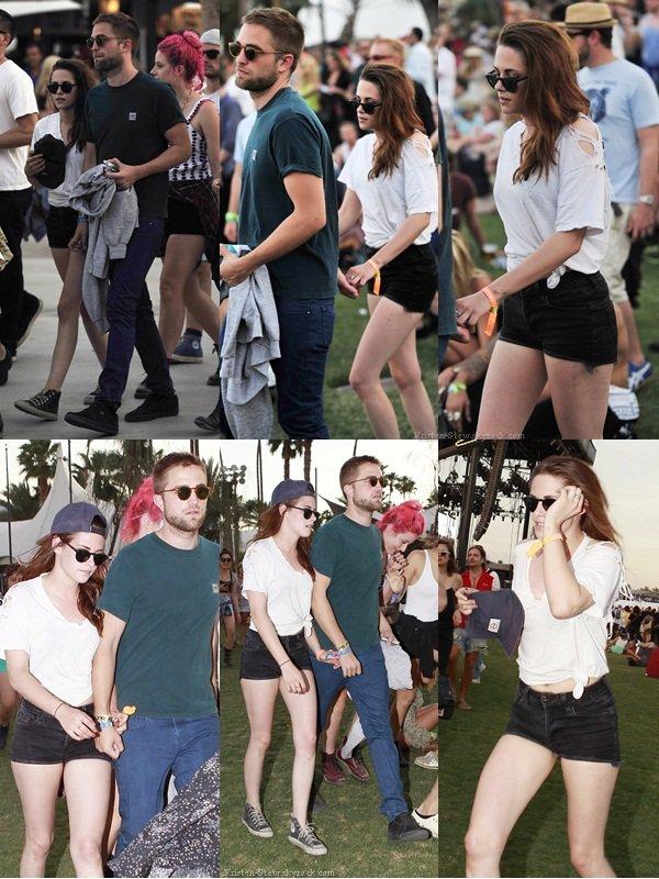 12.04.2013 /  Kristen en compagnie de son boyfriend Robert et de leurs amis ont été vu au festival de Coachella. La tenue de Kristen était magnifique, elle porte une jupe à rayures, noir et verte, avec un haut blanc et ses converses noir. Elle portait bien évidemment sa casquette. Un Top