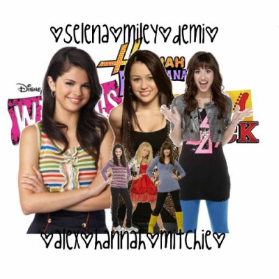 Miley(Hannah) and Selena(Alex) and Demi(Mitchie)