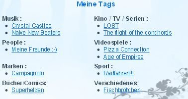 PROFIL: Neue Kategorien für die Profil Tags!