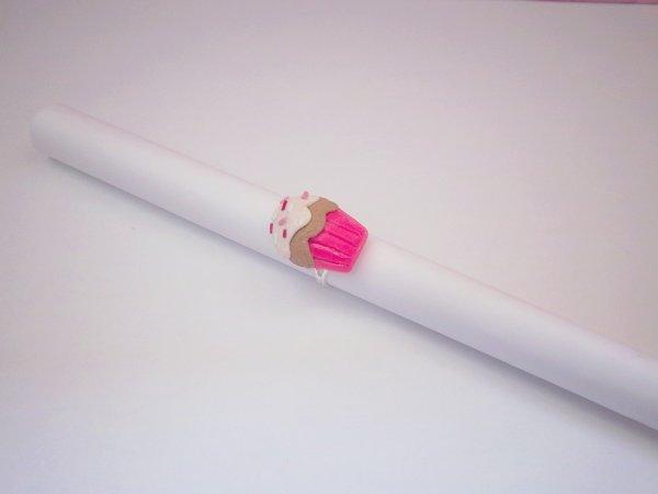 Bague cupcake rose néon