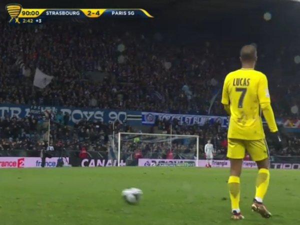 Lucas Moura - Strasbourg / PSG - 1/8 de finale de la coupe de la ligue 2017/18.