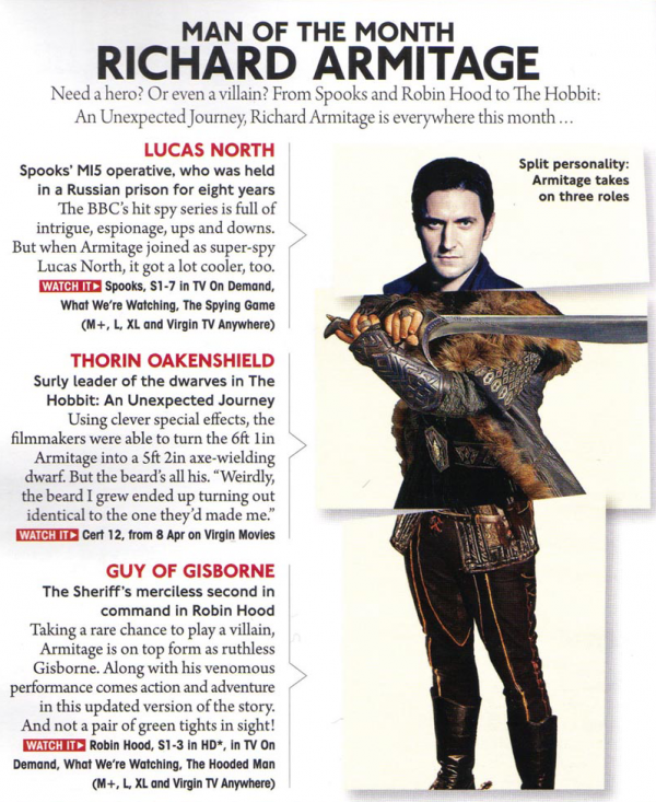 Article de Virgin Media magazine - Avril 2013   Richard Armitage - Man of the Month