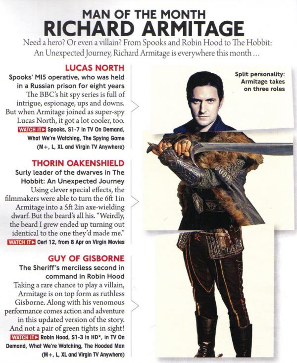 Article deVirgin Media magazine - Avril 2013   Richard Armitage - Man of the Month