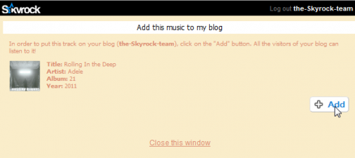Put a song on your blog
