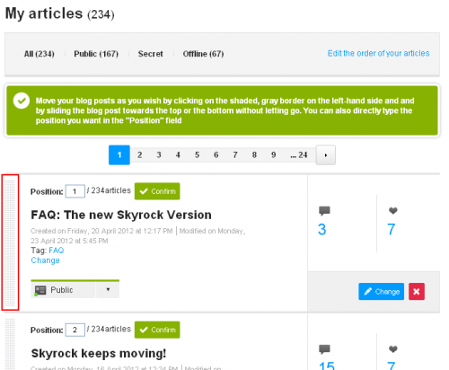 Change the order of your blog posts