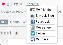 BLOG: Spread articles on Skyrock, Facebook, MySpace et Twitter !