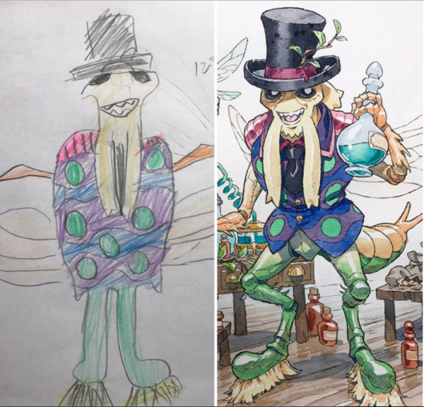 Dad Turns His Sons' Doodles Into Anime Characters!