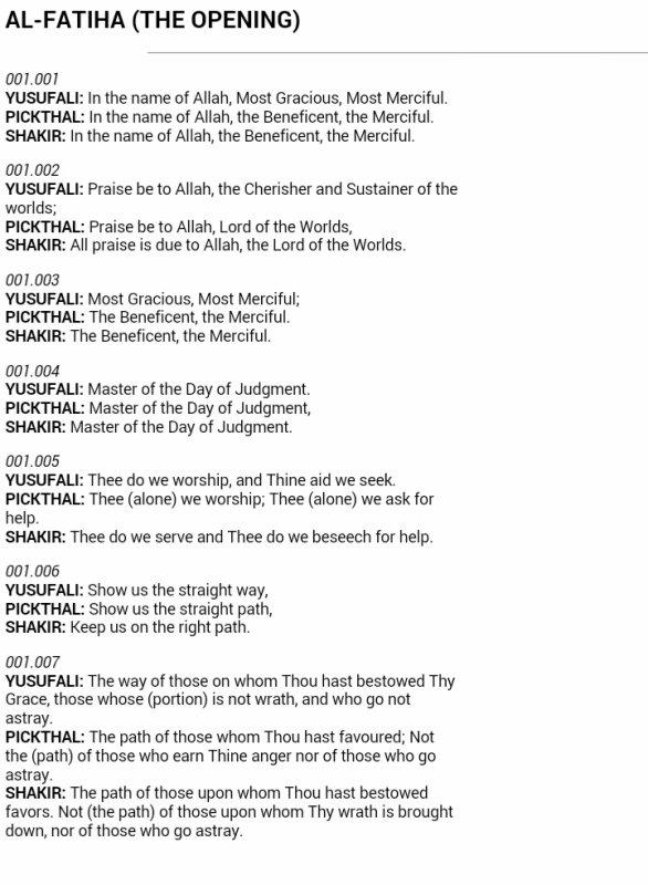 AL FATIHA in English Translation
