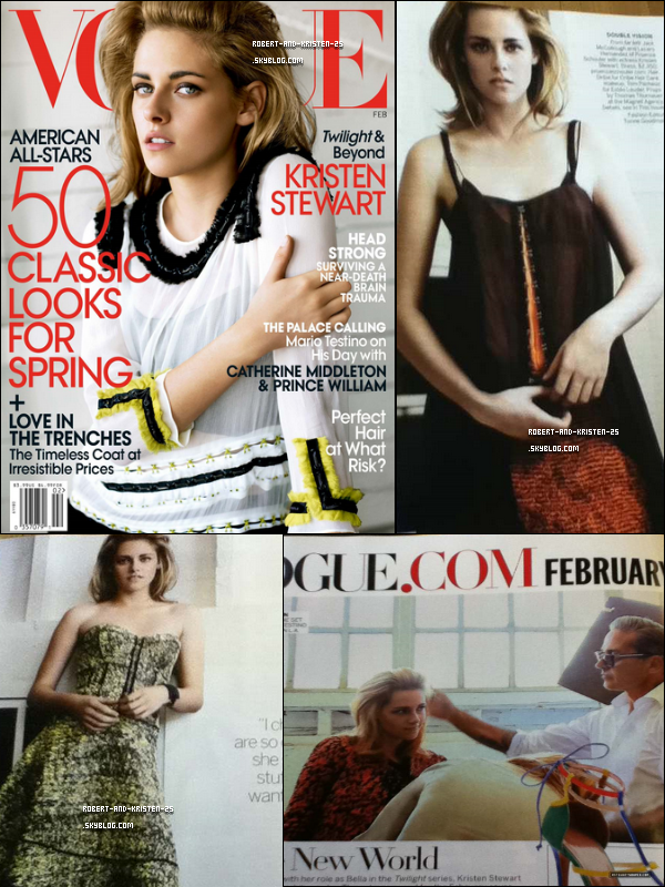 ♦ Photoshoot  .   Kristen a fait la couverture du magasine Vogue aux USA.  .