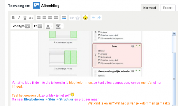 BLOG : nieuwe tekst-editor