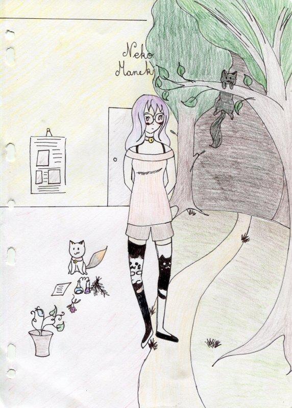 1er dessin de Neko (First drawing of neko)