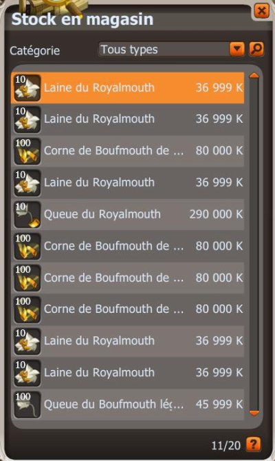 Le Royalmouth : Source d'xp, mais de kamas.