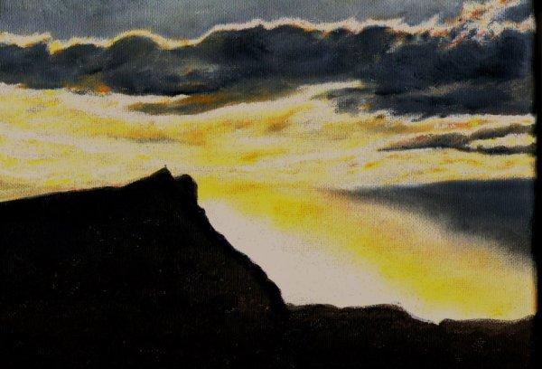 lever de soleil derrière la ste victoire