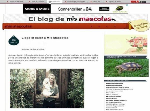 Periodista Andrea González-Villablanca y su éxito como blogger en hola.com  junto a su mascota Aranza